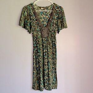 M USA Low V Flutter Sleeve Green Leopard Dress SZL
